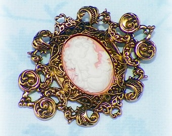 Cameo Victorian Pin Pink Brooch Classic Lady Gothic Vintage Style Steampunk Antique Gold Style