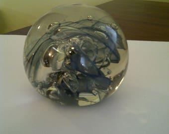 Signed (Brian) Lonsway 1979 Blue-Silver-Gray Swirling Nebula Art Glass Paperweight