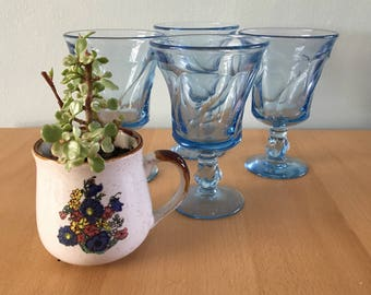 Sweet set of 4 vintage aqua blue Fostoria Jamestown wine glasses - swirled pattern with round footed base for tropical Old Florida home!