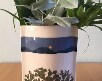 Stunning cream ceramic oval shaped vase hand-painted pink flowering cactus against blue hills & sky for Boho Jungalow or Southwest home!