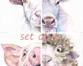 Set of 4 Prints of the Original Watercolor Painting  with cute little animals goat, horse, sheep, cow and pig farm animals