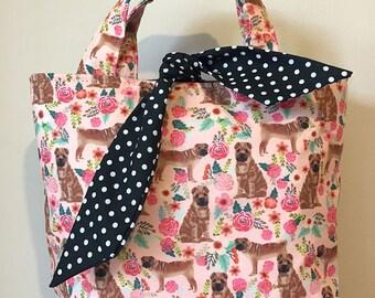 Shar pei dog print handbag