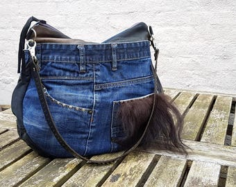 Beautifull Handmade Recycled Denim Suede Bag, Hobo Bag, Leather Bag, Leather Tote, Leather Handbag, Reused Leather Bag, OOAK Bag
