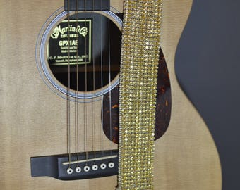 Gold Crystal Guitar Strap
