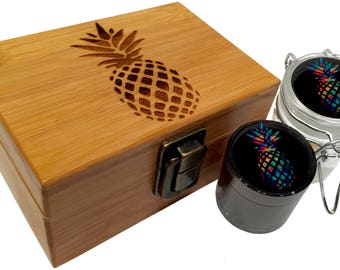 """Pineapple Mini Grinder Herb Jar and Stash Box Combo Set - Small Titanium 4 Part Grinder 1.5"""" w/ Glass jar labels in Engraved Bamboo Wood Box"""