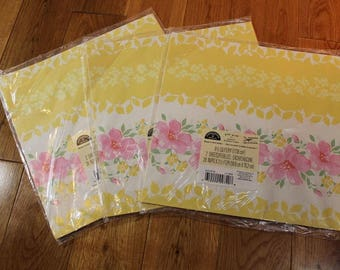 Vtg Floral Wrapping Paper HALLMARK GIFT WRAP All Occasion Yellow Pink, Lot of 3 New, 1990s, flat wrap, birthday paper