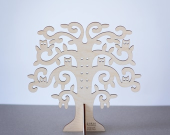 Wood jewelry organizer/ Wooden jewelry tree/ Wood jewelry display