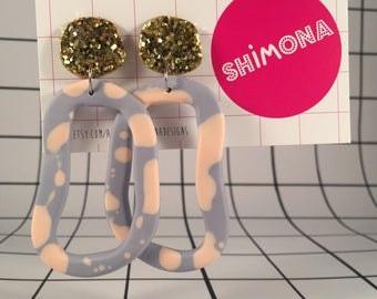 Lopsided Loopy Dangle Resin Earrings