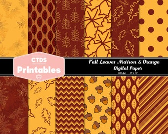 "Marron & Orange Fall autumn Thanksgiving Digital paper 12"" squares- 300dpi"