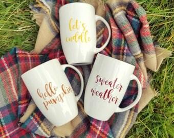 Fall latte mug*Autumn mug*Fall coffee cup*Fall coffee mug*big mug*Large coffee mug*Sweater Weather*Hello pumpkin*warm and cozy*Tall mug