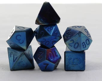 Zucati Dice: - Titanium Square D6 Chamfered - Flame Blued