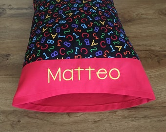 Personalized Toddler Pillow OR Travel Pillow, ABC 123/Red 12 x 16 inch***Comes with the pillow!