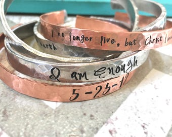 Cuff Bracelets: Personalized Bracelets For Women-Hand stamped cuff bracelet-Personalized and custom bracelet cuff-Copper cuff bracelet