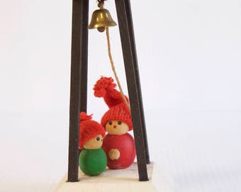 Vintage Swedish Wooden Elves - Gnome Tomte figurines - Mid century modern- Elves in Bell Tower