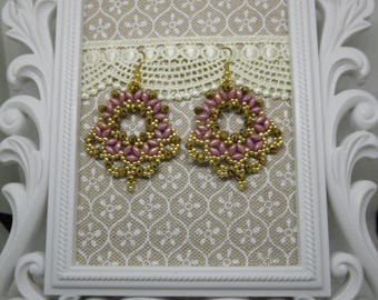 Beaded earrings/Earrings with superduo/fan earrings/pink earrings/earrings with crystals
