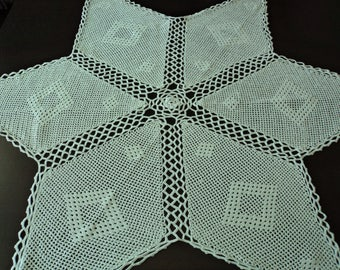 Vintage French stunning hand crochet large white cotton doily  (04849)