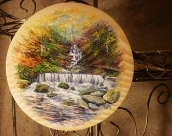 Original painting plate on wood Living room decor Decorative plate Painting on a plate Carpathian mountains Waterfall Natural wood Forest