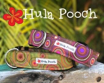 "Dog Collar ""Aloha"" Lime Green / Purple -  Medium Dog Collar, Large Dog Collar, 1-1/2"" FREE SHIPPING, Wide, Adjustable"