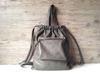 Gray backpack, soft leather bag, womans casual bag, gray summer backpack