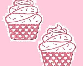 Pink Cupcake Pasties Cover 1 pair Nipple Covers BOGO  Free
