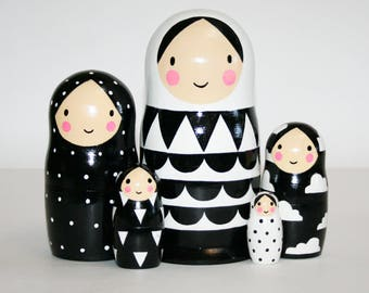 Nesting doll Black and white matryoshka