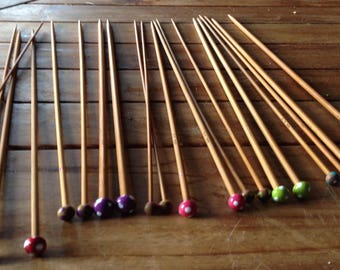 Long needles 12 pairs tips colored dot length 35 cm