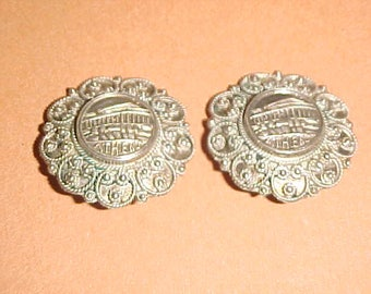 Vintage Sterling Silver Clip On Earrings-Athens