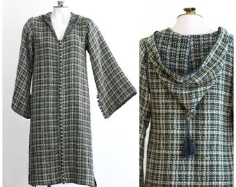 Green and cream knit caftan with hood and belled sleeves