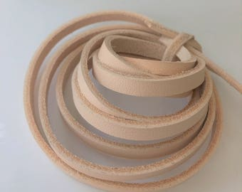 200 cm long 3,4,5,6,7,8,9 mm wide Natural Veg Tanned Leather Lace Flat Cord Strip 2.5 mm thick