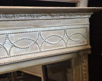 Gorgeous Antique Vintage Grey Regency Style Wall Mirror FREE DELIVERY Country Over The Mantel Mirror Handmade