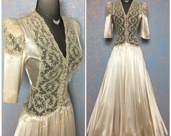 Old Hollywood Glamour Art Deco 1930's 1940's Liquid Satin Luxurious lace Robe Peignoir wedding bridal gown 30s 40s