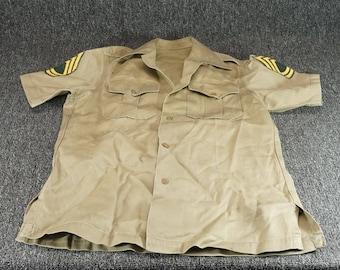 Vintage 1950'S Era Us Army Short Sleeve Shirt Size 14 - 14 1/2