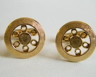 NICE Anson Karatclad Round Gold Men's Cuff Links