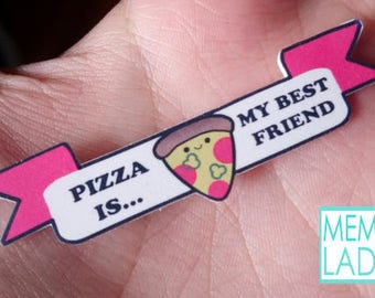 Pizza is my best friend - Text Collar - Necklace