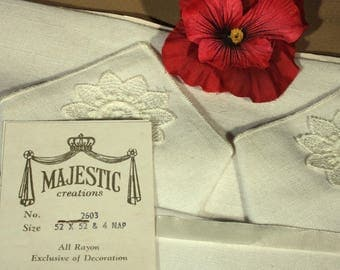 Creamy Off White Square Majestic Tablecloth and Napkins, Applique Lace on Rayon, Never Used