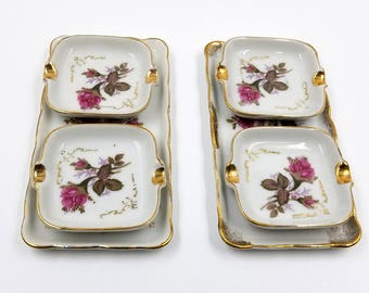 Mid Century Royal Sealy Moss Rose Personal Ashtray and Cigarette Trays