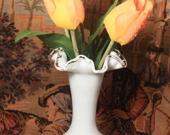 Fenton Silvercrest Crimped and Ruffled Vase