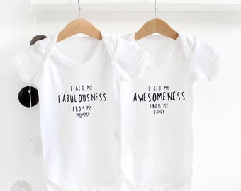 Personalised I Get It From My Mummy/ Daddy Baby grow / new baby gift / baby shower present / gifts for new babies / unisex baby wear