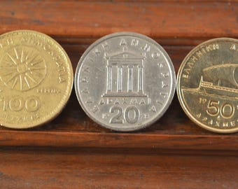 Vintage greek coins set of 3....20,50,100,drachma,alexander the great,,pericles,homer
