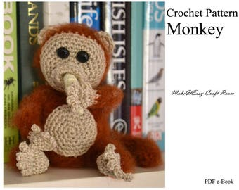 Amigurumi monkey crochet pattern Crochet little monkey Monkey with banana Fluffy monkey Shelf monkey Mini crochet decor Digital download