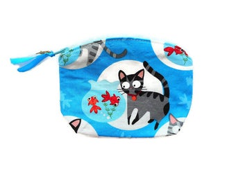 Cat Coin Purse Cat Accessory Small Cat Change Purse Cat Zipper Bag Cat Zipper Coin Purse Cat Lover Gift Cat Aquarium Cotton made in France