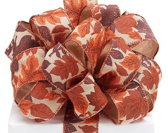 """New 20 yards Fall Leaves Wired ribbon 1-1/2"""" Thanksgiving Ribbon, Burlap wired ribbon with leaf print for Wreath Making"""
