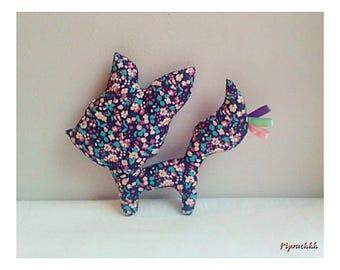 Decoration / toy Fox blue flowers