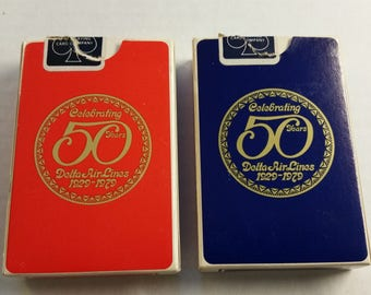"Delta Airlines ""Celebrating 50 Years"" Playing Cards - 2 Decks Red & Blue"