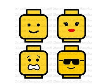 ON SALE Lego Heads layered svg pack SVG Dxf and Png Files for Cutting Machines Silhouette, Cricut or Scan 'N' Cut