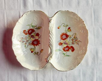 Antique Divided Serving Dish with Handle, Molded Acanthus Pattern, and Flowers - Antique Porcelain Handled Serving Dish -Antique German Bowl