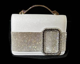 New Evening Gold  With Gold  Crystal Buckle Hand Bag