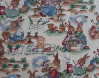 Alexander Henry The Easter Garden Bunny fabric that is rare vintage and o0ut of print and is from 1995 adorable fabric 1YARD 15""