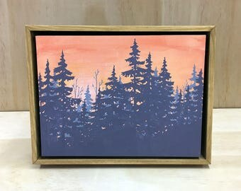 ONE OF A KIND Hand painted orange and purplish forest landscape in a light brown hand crafted floating wood frame