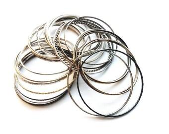 Vintage 1980's Set of 30 Metallics Thin Bangle Bracelets